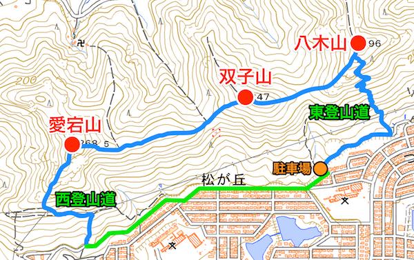 八木山〜双子山〜愛宕山 登山地図