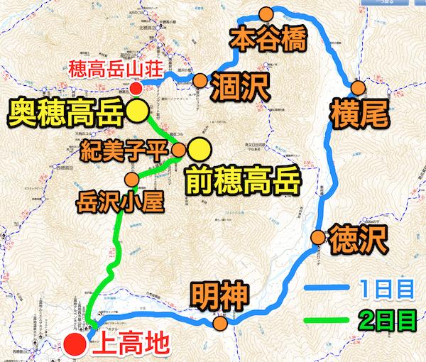 奥穂高岳 登山プラン
