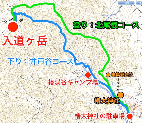 入道ヶ岳 登山コース図