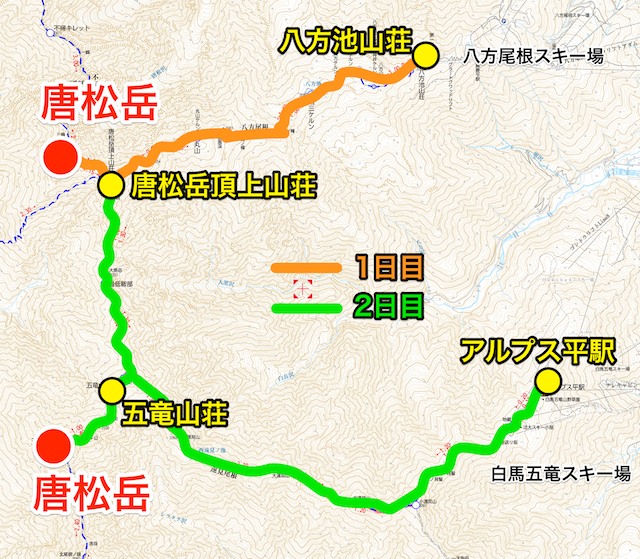 唐松岳〜五竜岳 縦走計画図