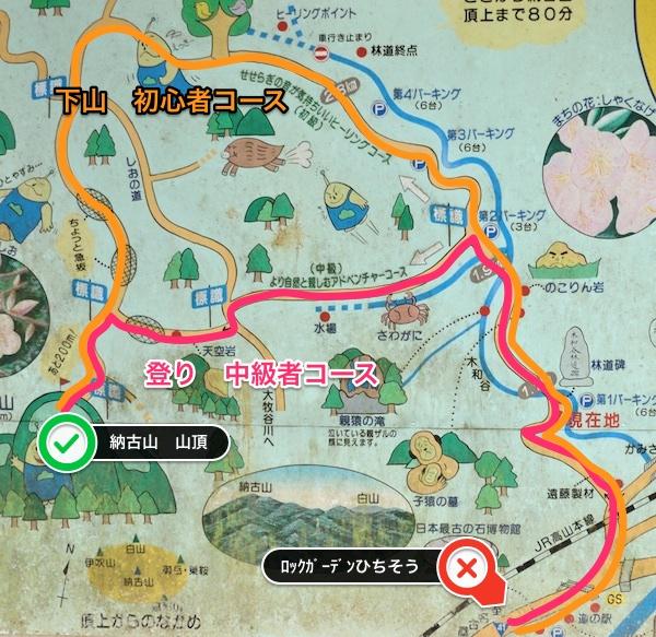 納古山 登山ルート図