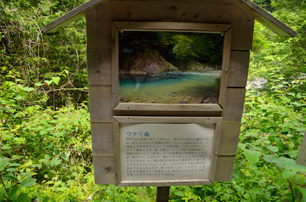 阿寺渓谷 遊歩道 ウナリ島