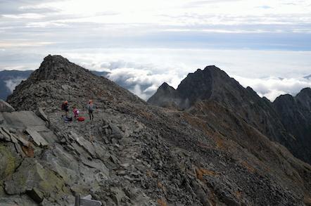 奥穂高岳 頂上 前穂高岳方面