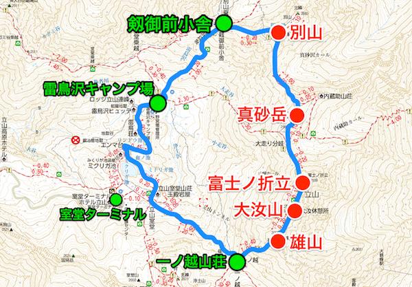 立山縦走 登山地図