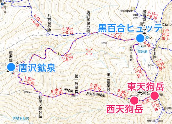天狗岳 日帰り登山 ルート計画図