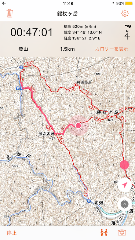 YAMAP GPS 実例 錫杖ヶ岳