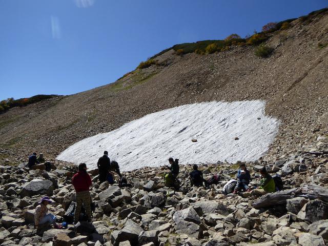 唐松岳 八方尾根登山道 扇雪渓