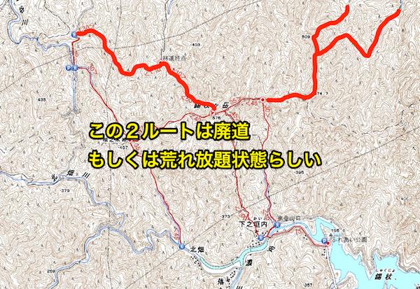 錫杖ヶ岳 登山道地図 廃道のルート地図