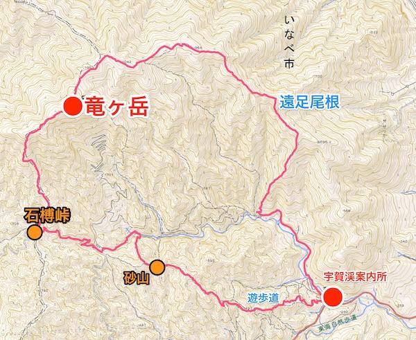竜ヶ岳 登山ルート図