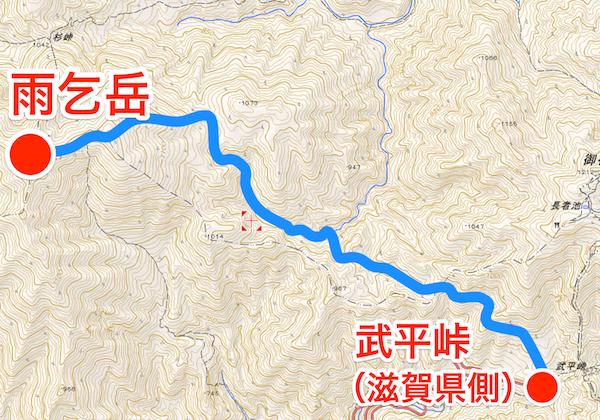 雨乞岳 登山コース